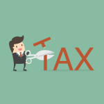 animation of man cutting the word tax